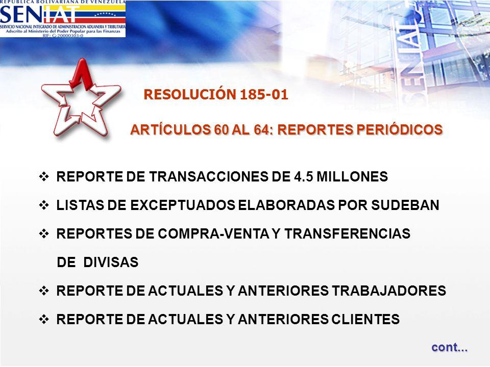 ARTÍCULOS 60 AL 64: REPORTES PERIÓDICOS