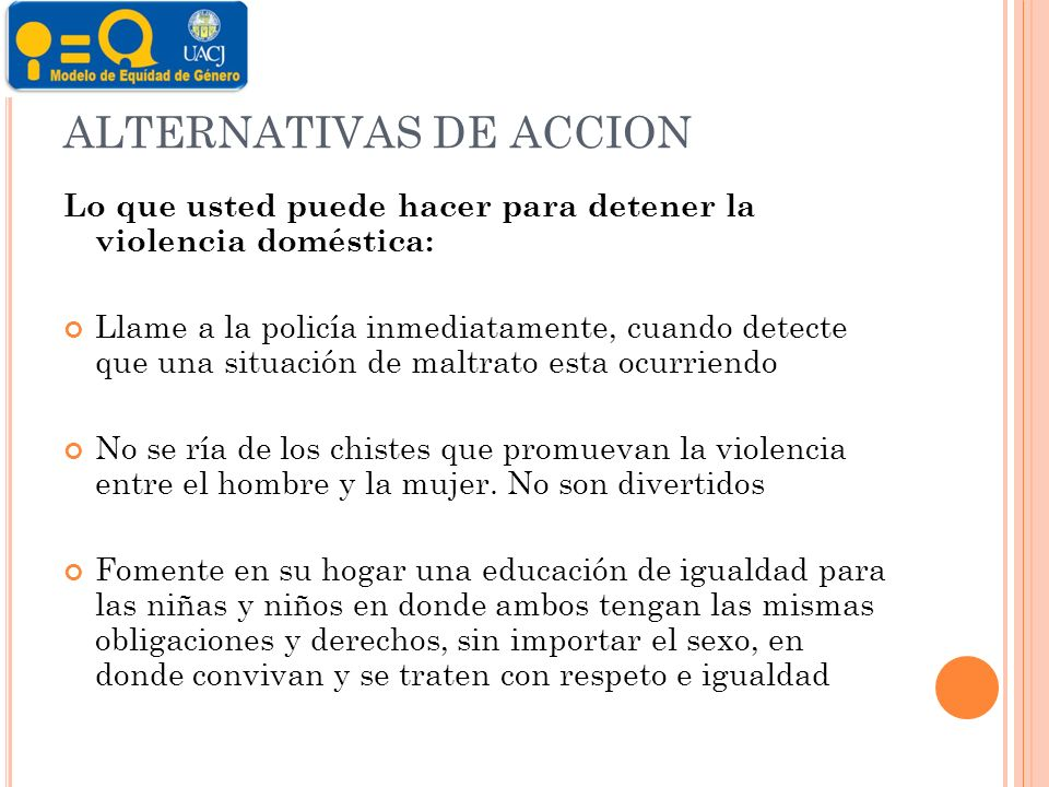 ALTERNATIVAS DE ACCION