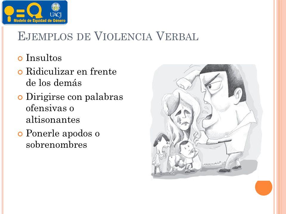 Ejemplos de Violencia Verbal