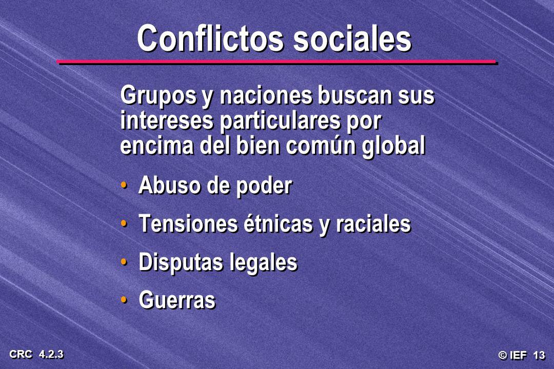 Conflictos sociales Grupos y naciones buscan sus intereses particulares por encima del bien común global.