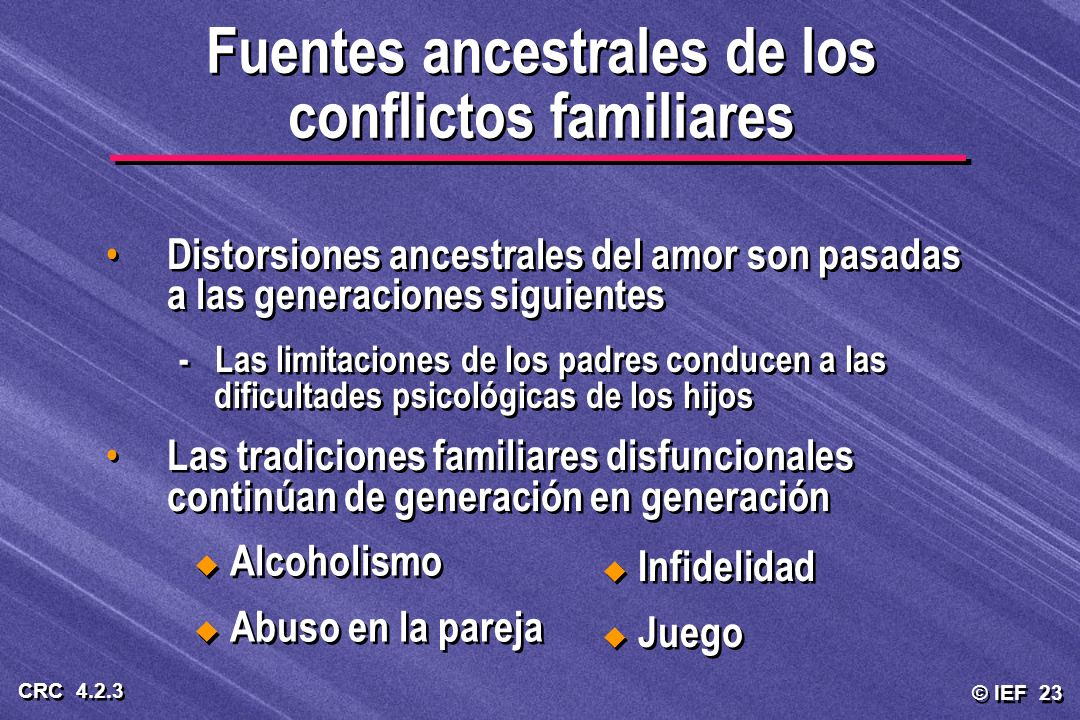 Fuentes ancestrales de los conflictos familiares