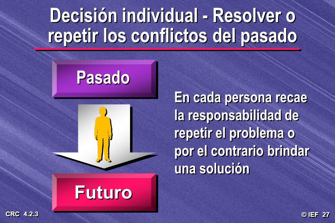 Decisión individual - Resolver o repetir los conflictos del pasado
