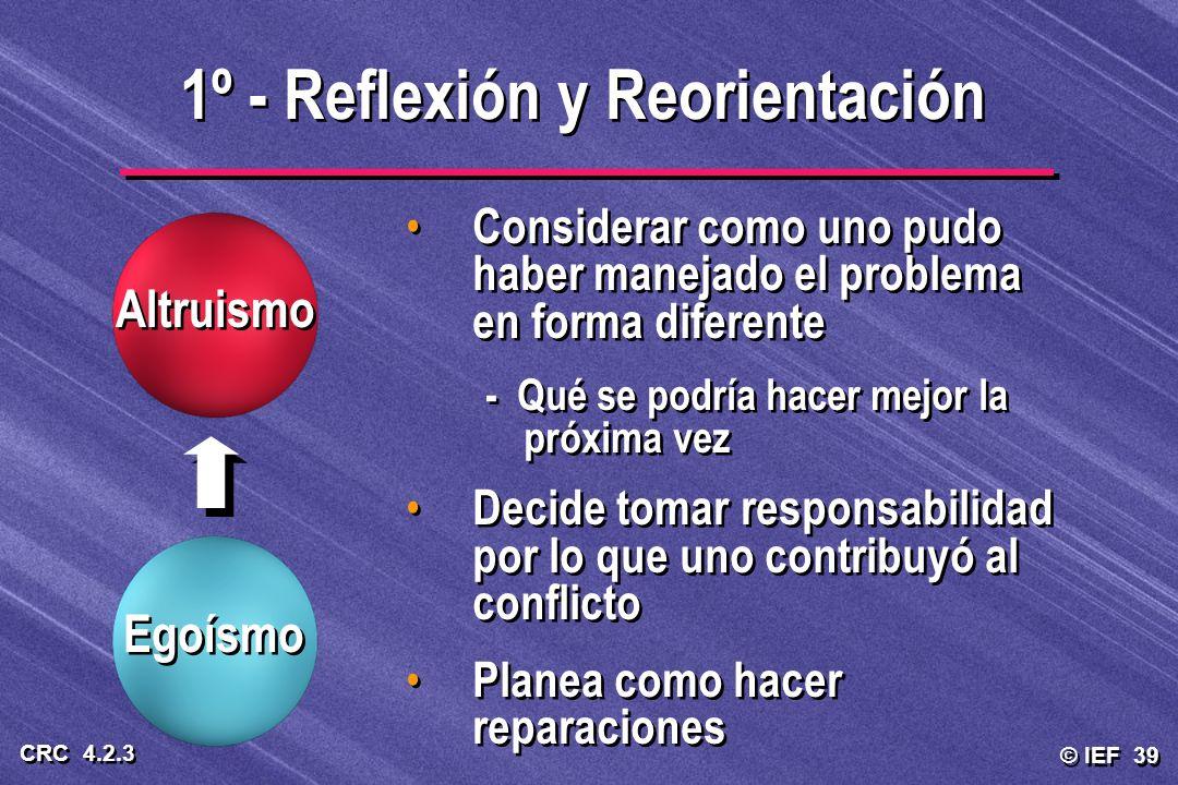 1º - Reflexión y Reorientación