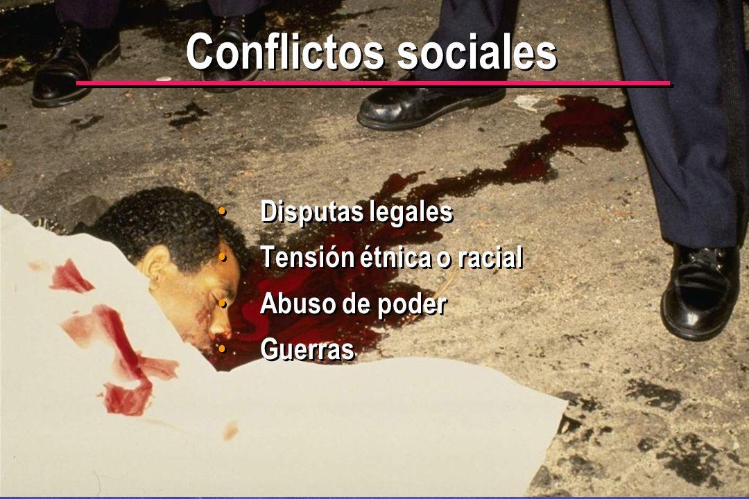 Conflictos sociales Disputas legales Tensión étnica o racial