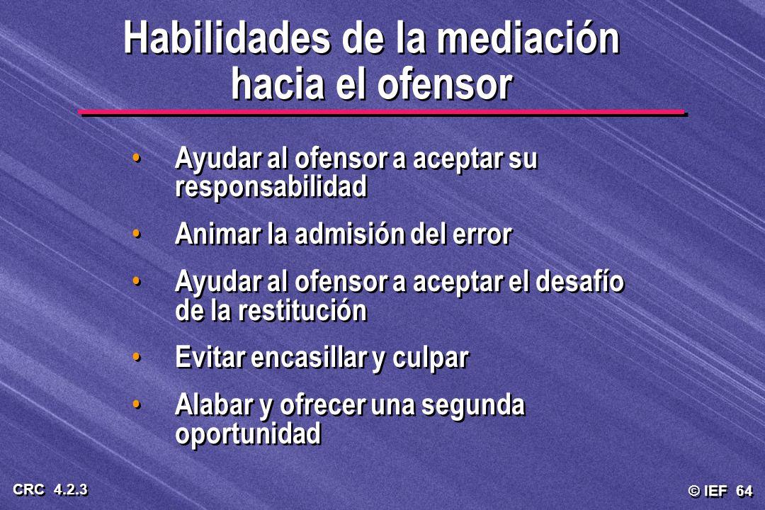Habilidades de la mediación hacia el ofensor
