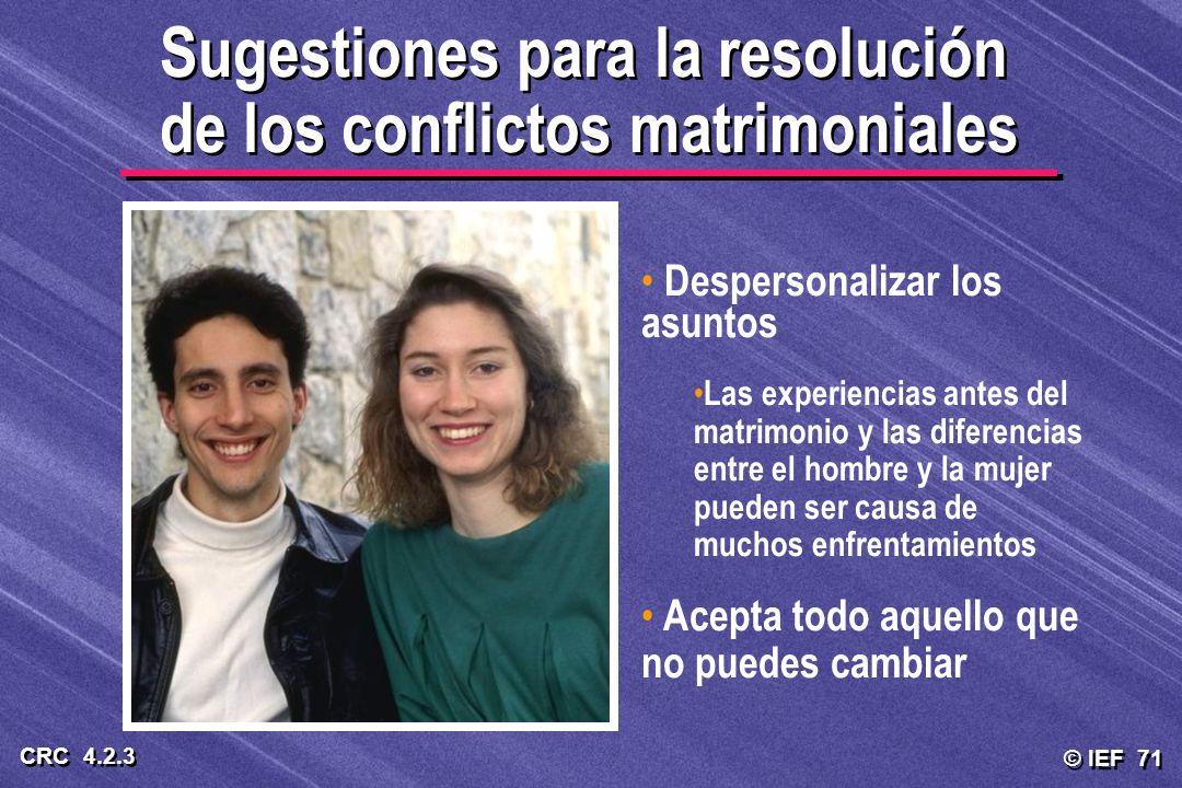Sugestiones para la resolución de los conflictos matrimoniales