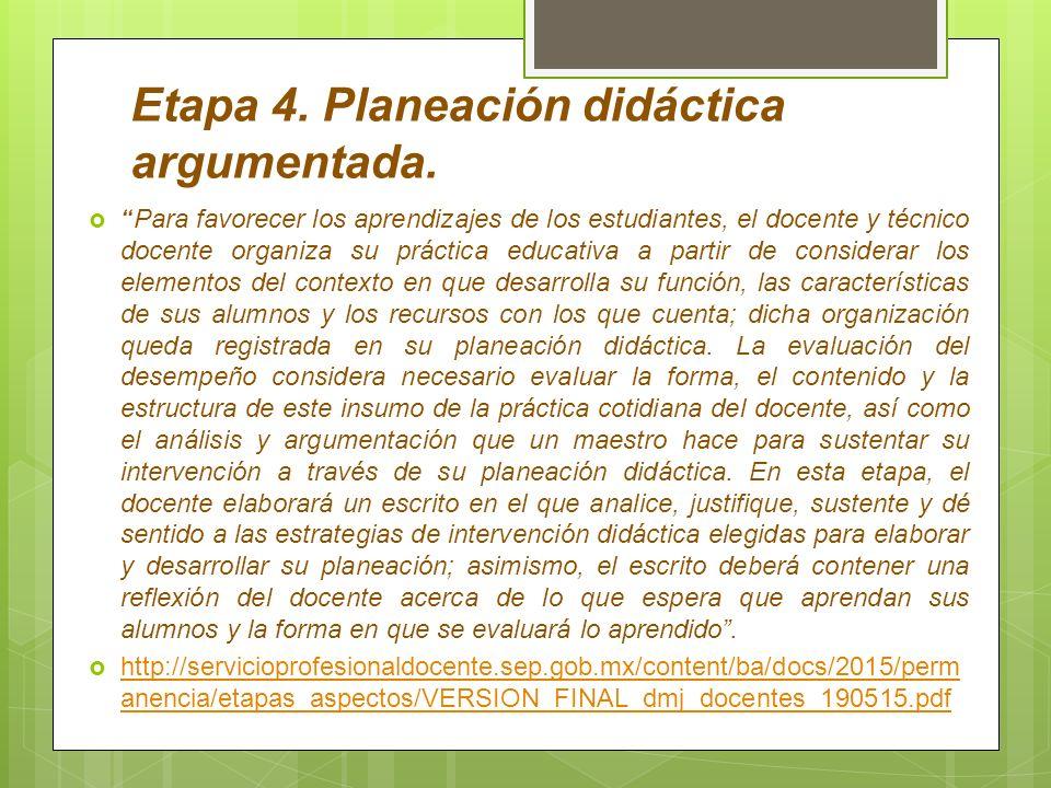 Etapa 4. Planeación didáctica argumentada.