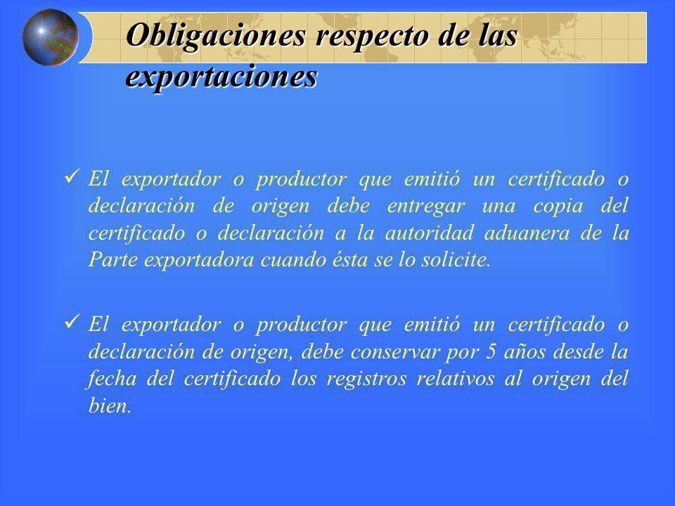 Obligaciones respecto de las exportaciones