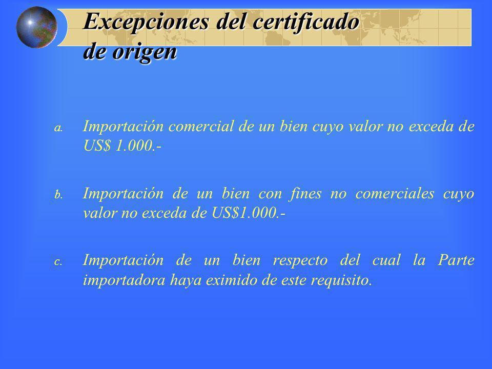 Excepciones del certificado de origen