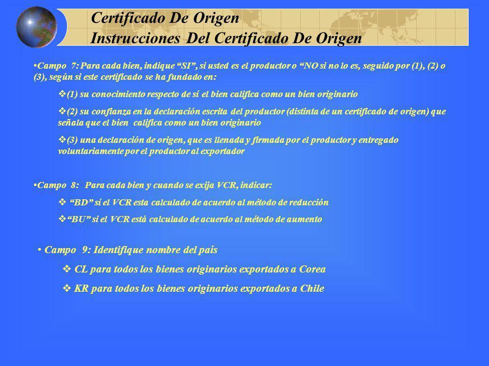 Instrucciones Del Certificado De Origen