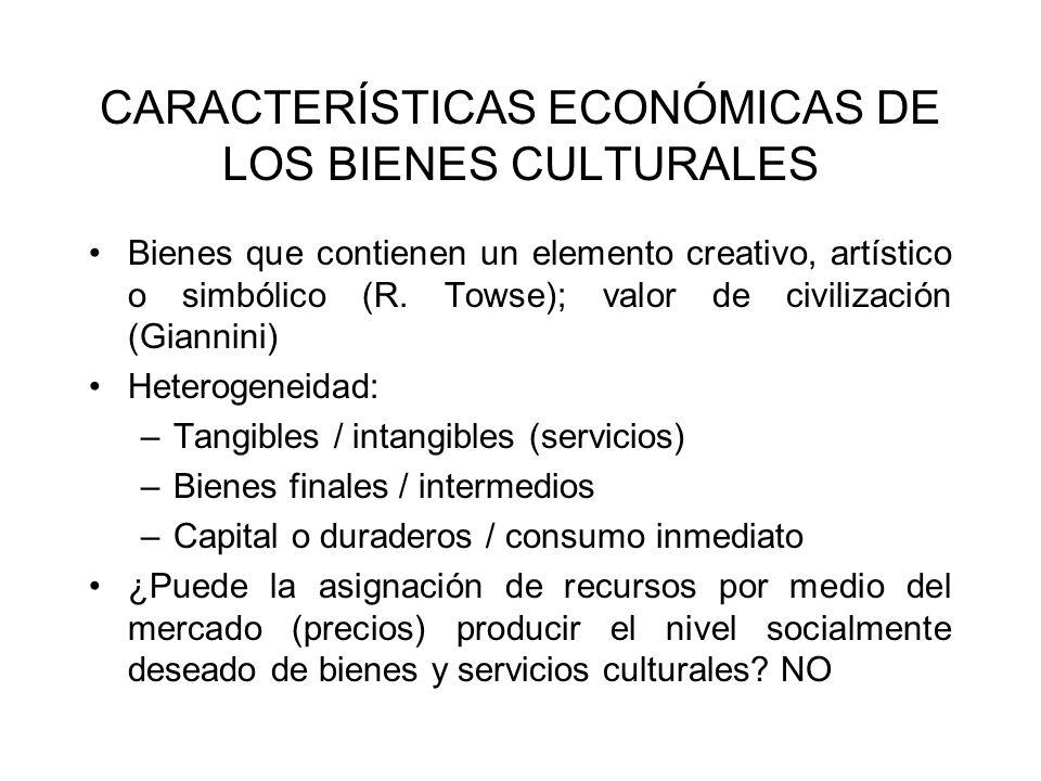 CARACTERÍSTICAS ECONÓMICAS DE LOS BIENES CULTURALES