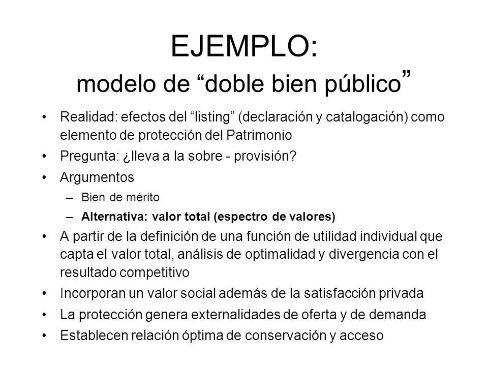 EJEMPLO: modelo de doble bien público