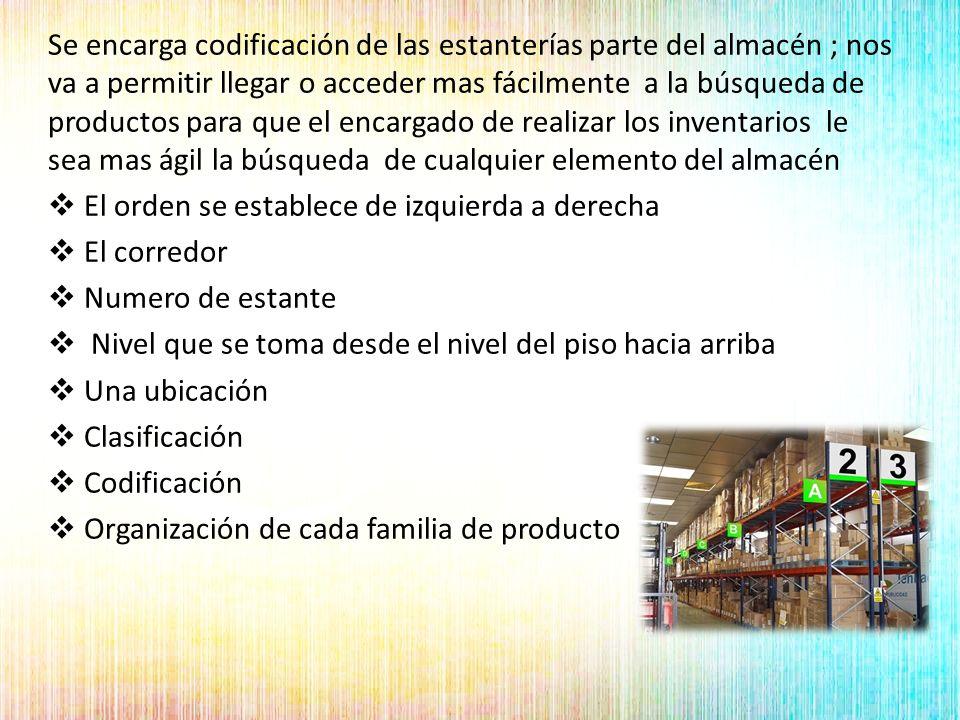 Se encarga codificación de las estanterías parte del almacén ; nos va a permitir llegar o acceder mas fácilmente a la búsqueda de productos para que el encargado de realizar los inventarios le sea mas ágil la búsqueda de cualquier elemento del almacén