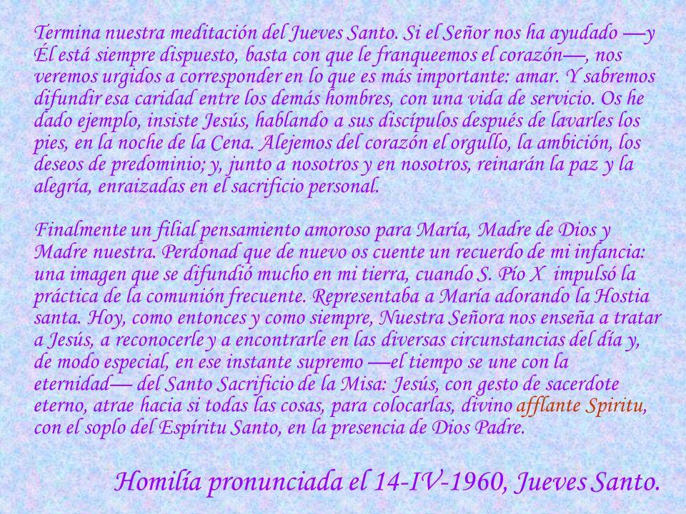 Homilía pronunciada el 14-IV-1960, Jueves Santo.