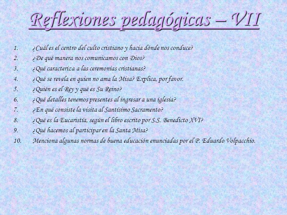 Reflexiones pedagógicas – VII