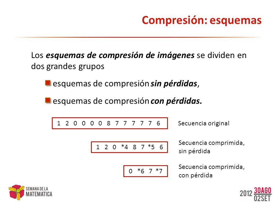 Compresión: esquemas Los esquemas de compresión de imágenes se dividen en dos grandes grupos. esquemas de compresión sin pérdidas,