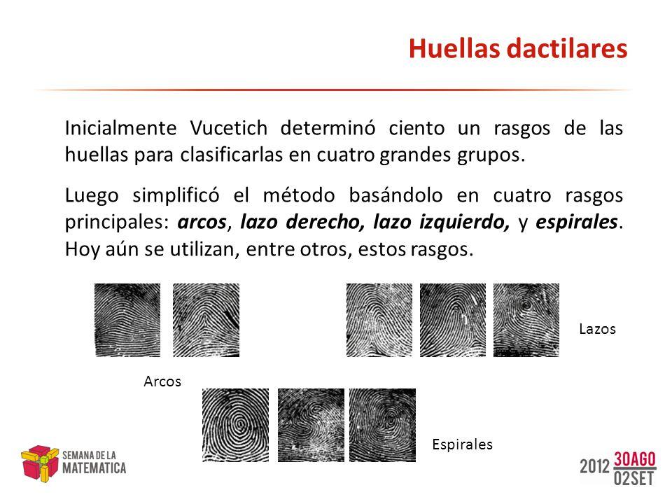 Huellas dactilares Inicialmente Vucetich determinó ciento un rasgos de las huellas para clasificarlas en cuatro grandes grupos.
