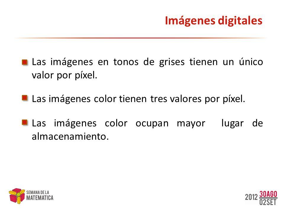 Imágenes digitales Las imágenes en tonos de grises tienen un único valor por píxel. Las imágenes color tienen tres valores por píxel.