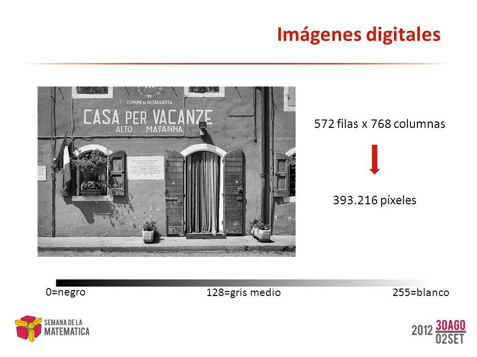 Imágenes digitales 572 filas x 768 columnas 393.216 píxeles 0=negro