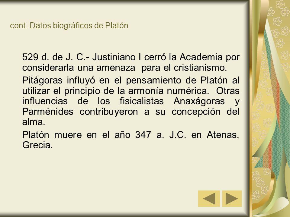 cont. Datos biográficos de Platón