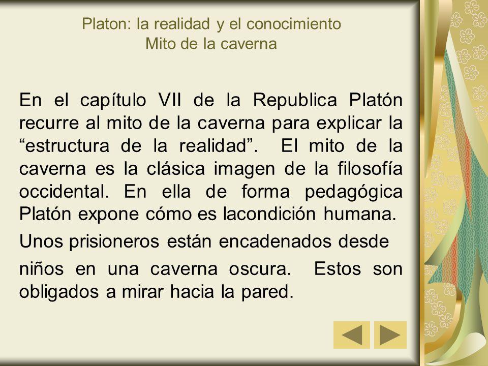 Platon: la realidad y el conocimiento Mito de la caverna