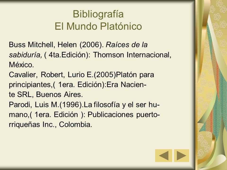 Bibliografía El Mundo Platónico