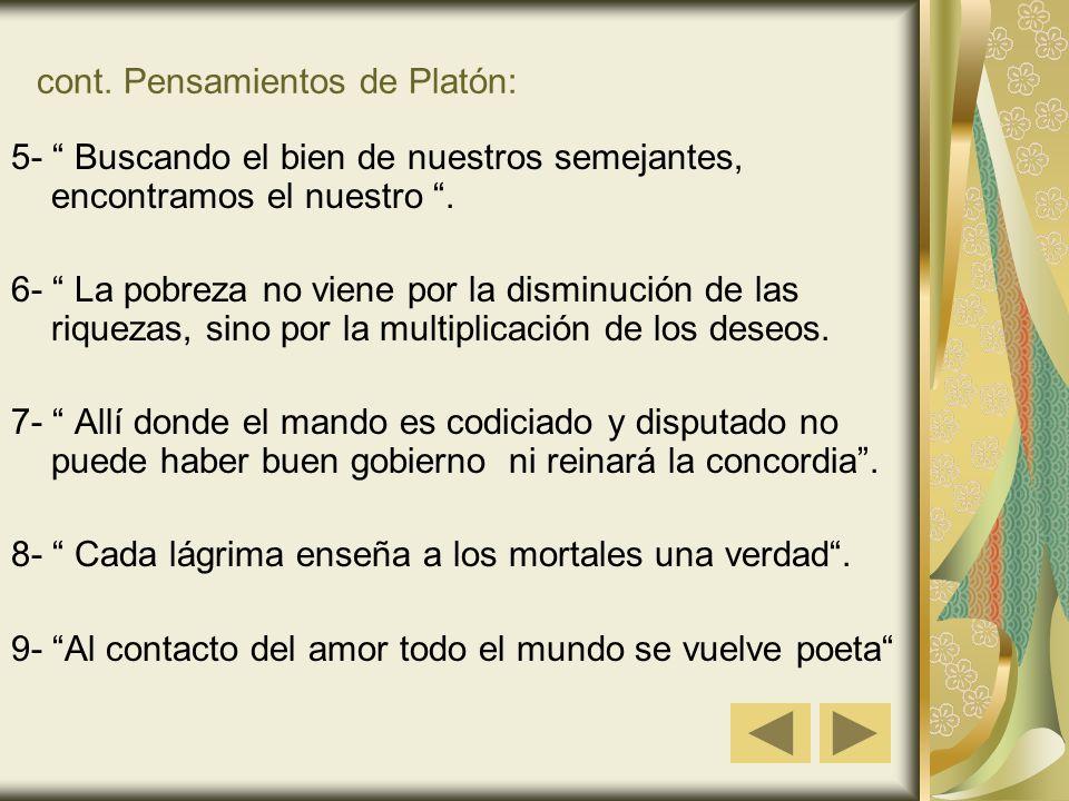 cont. Pensamientos de Platón: