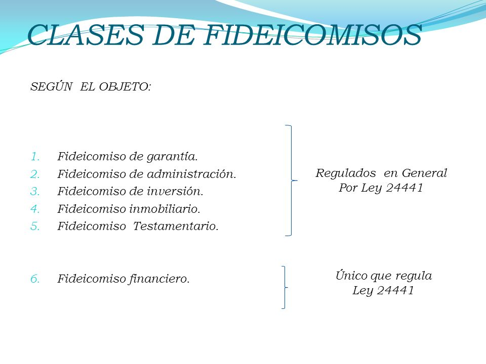 CLASES DE FIDEICOMISOS