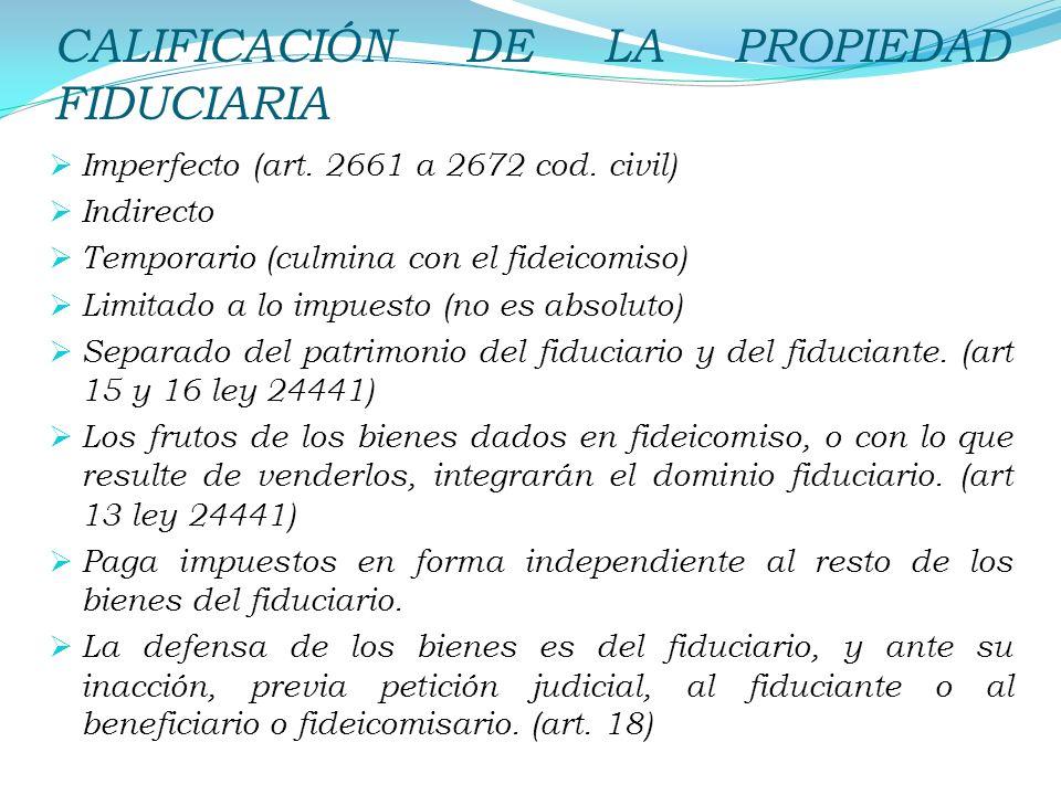 CALIFICACIÓN DE LA PROPIEDAD FIDUCIARIA