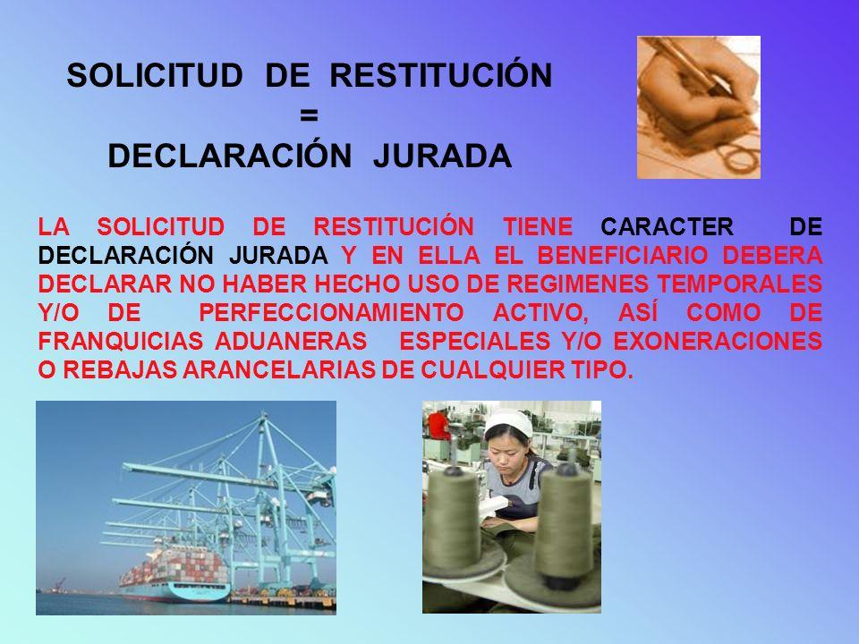 SOLICITUD DE RESTITUCIÓN