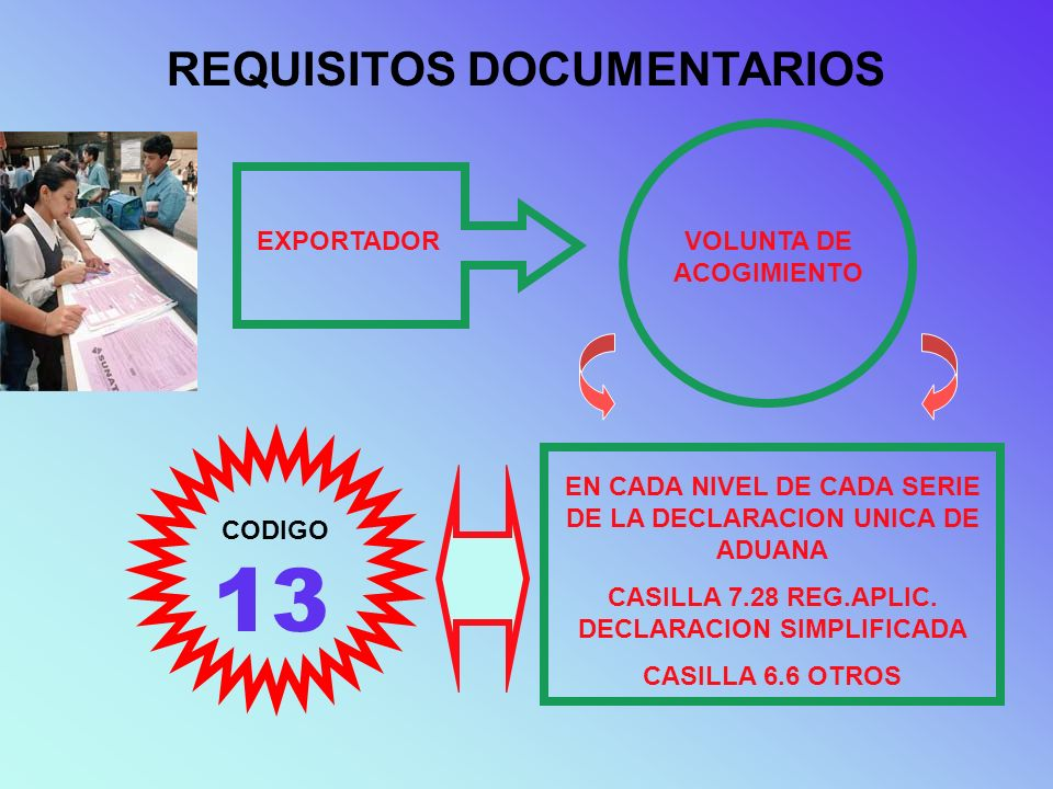 13 REQUISITOS DOCUMENTARIOS EXPORTADOR VOLUNTA DE ACOGIMIENTO