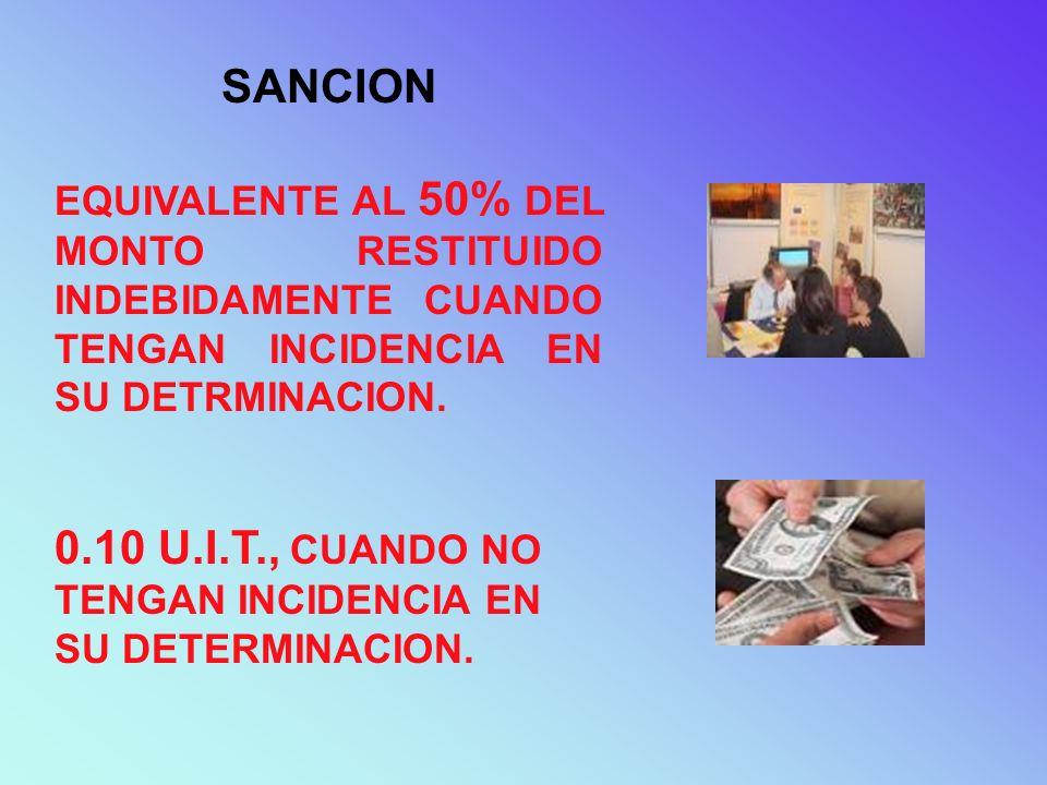 0.10 U.I.T., CUANDO NO TENGAN INCIDENCIA EN SU DETERMINACION.