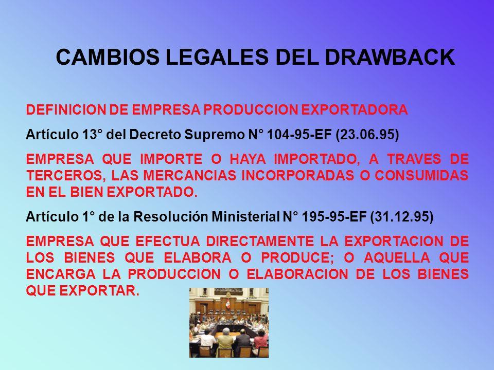 CAMBIOS LEGALES DEL DRAWBACK