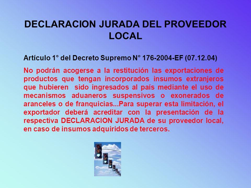 DECLARACION JURADA DEL PROVEEDOR LOCAL