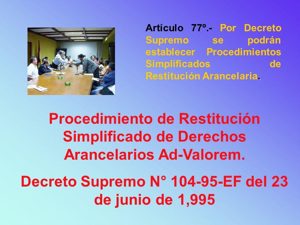 Decreto Supremo N° 104-95-EF del 23 de junio de 1,995