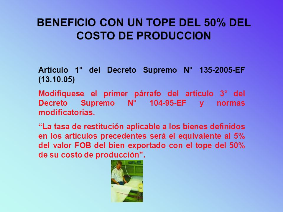 BENEFICIO CON UN TOPE DEL 50% DEL COSTO DE PRODUCCION