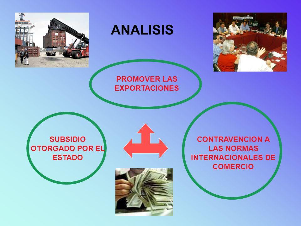 ANALISIS PROMOVER LAS EXPORTACIONES SUBSIDIO OTORGADO POR EL ESTADO