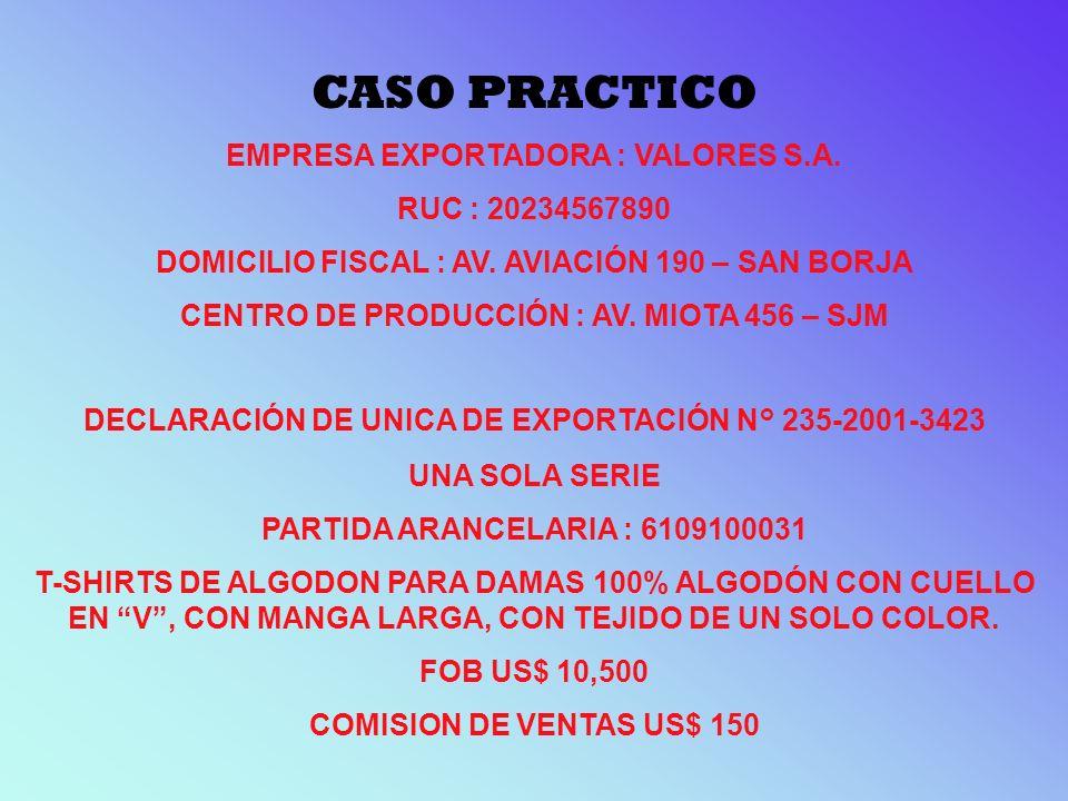 CASO PRACTICO EMPRESA EXPORTADORA : VALORES S.A. RUC : 20234567890