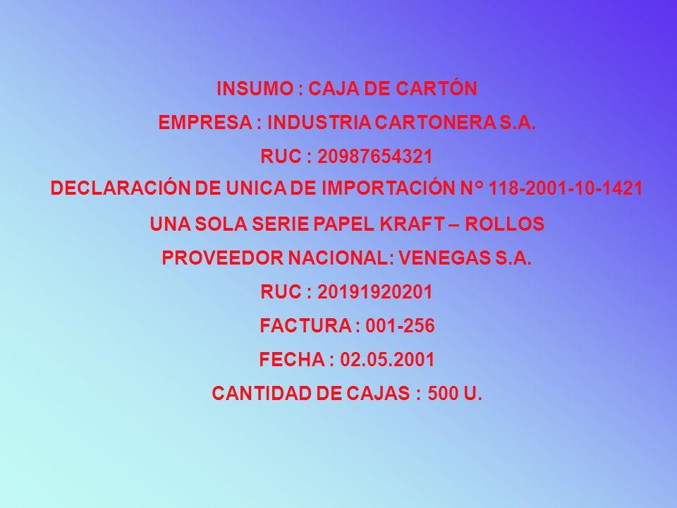 EMPRESA : INDUSTRIA CARTONERA S.A. RUC : 20987654321