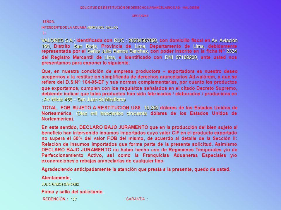SOLICITUD DE RESTITUCIÓN DE DERECHOS ARANCELARIOS AD – VALOREM