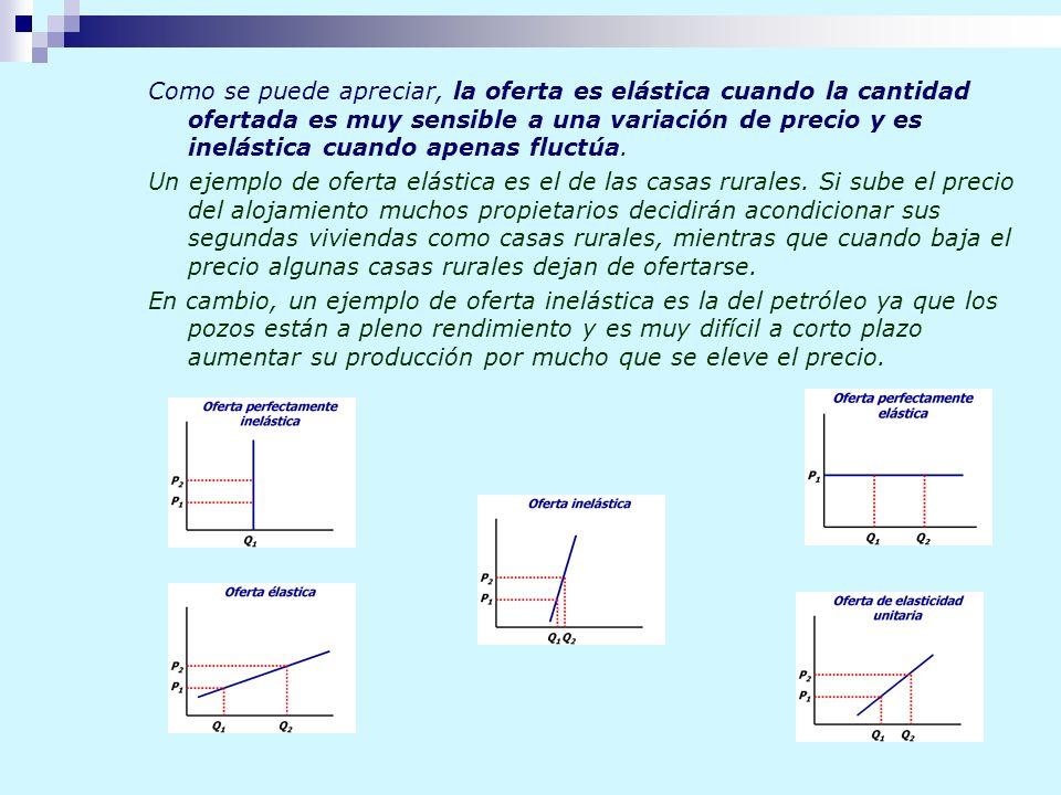 Como se puede apreciar, la oferta es elástica cuando la cantidad ofertada es muy sensible a una variación de precio y es inelástica cuando apenas fluctúa.