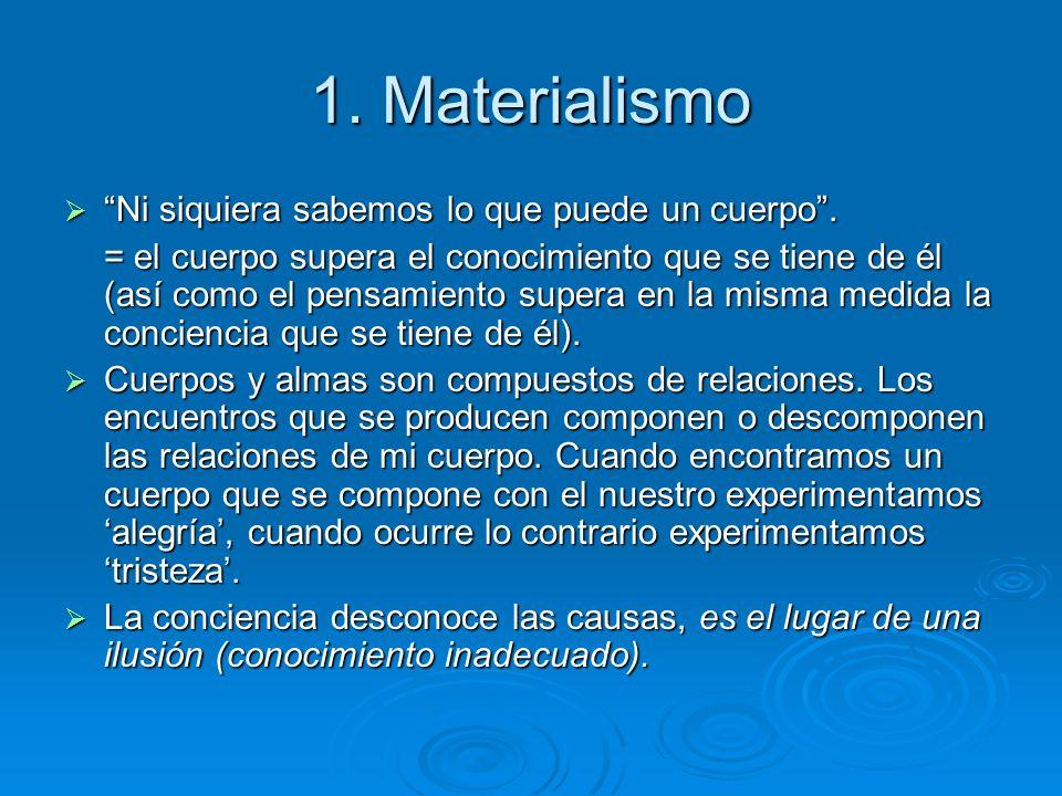 1. Materialismo Ni siquiera sabemos lo que puede un cuerpo .