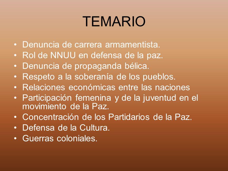 TEMARIO Denuncia de carrera armamentista.