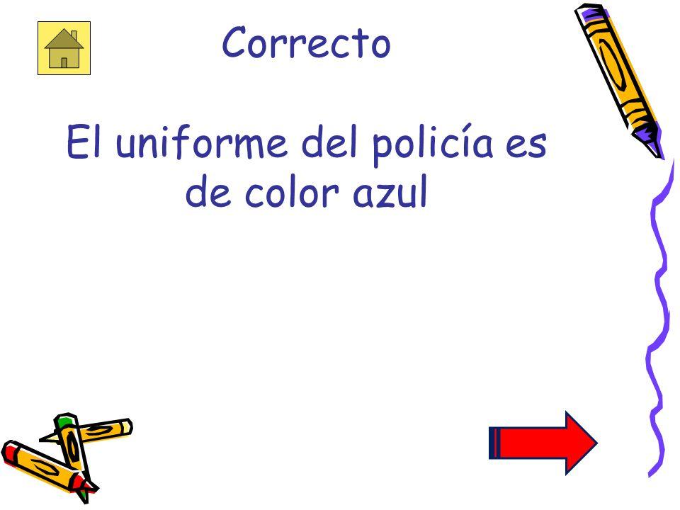 Correcto El uniforme del policía es de color azul