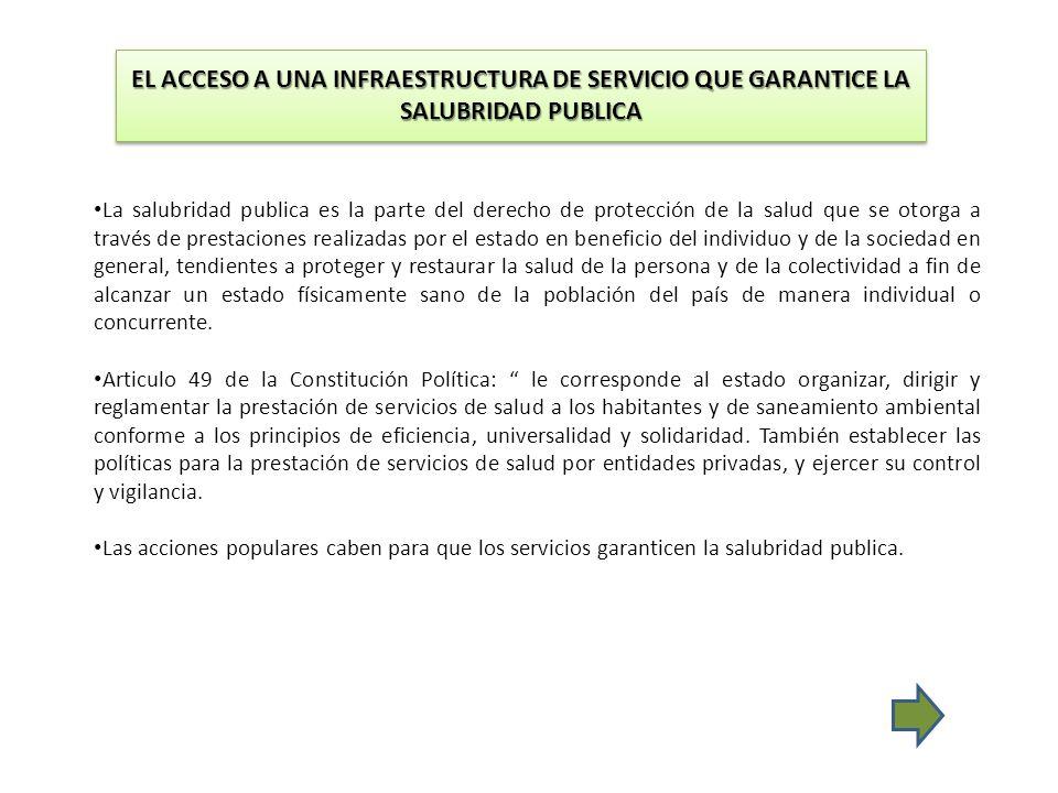 EL ACCESO A UNA INFRAESTRUCTURA DE SERVICIO QUE GARANTICE LA SALUBRIDAD PUBLICA