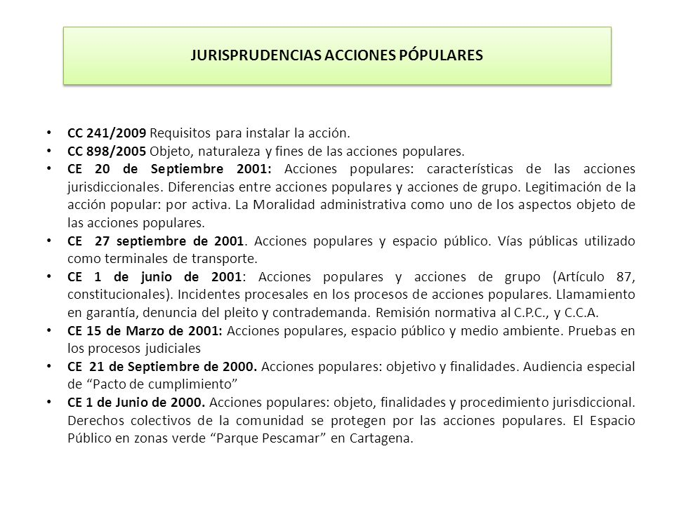 JURISPRUDENCIAS ACCIONES PÓPULARES