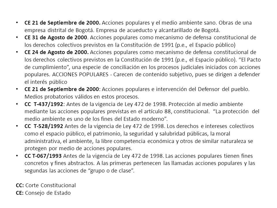 CE 21 de Septiembre de 2000. Acciones populares y el medio ambiente sano. Obras de una empresa distrital de Bogotá. Empresa de acueducto y alcantarillado de Bogotá.