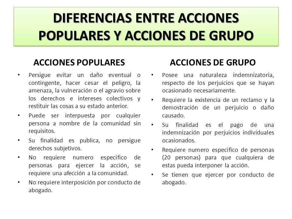 DIFERENCIAS ENTRE ACCIONES POPULARES Y ACCIONES DE GRUPO