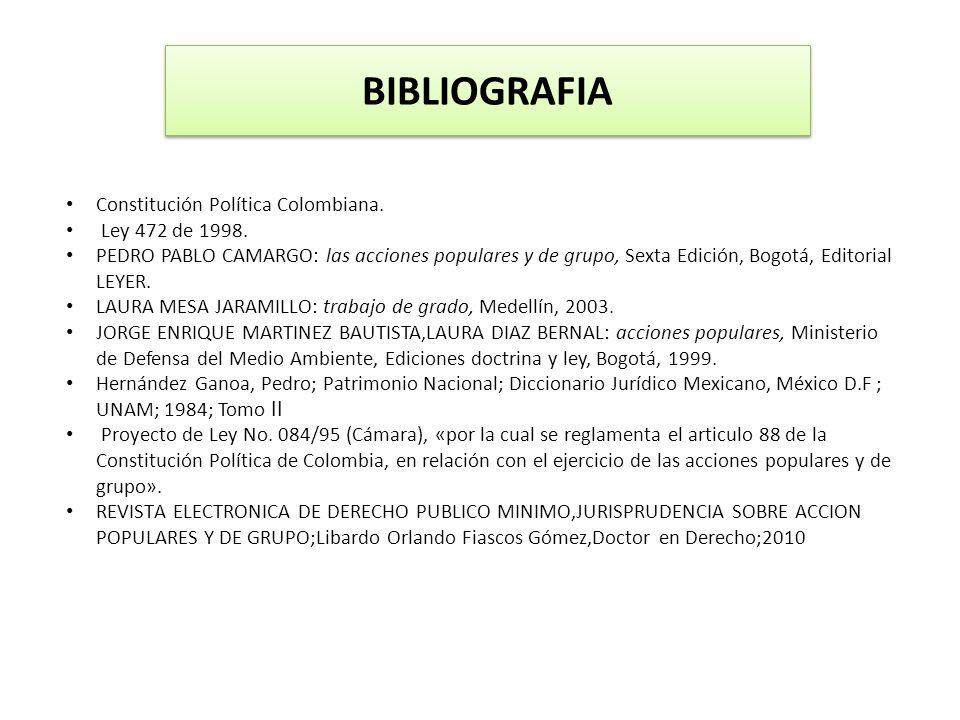 BIBLIOGRAFIA Constitución Política Colombiana. Ley 472 de 1998.