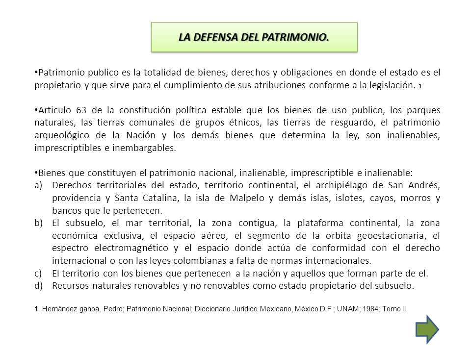 LA DEFENSA DEL PATRIMONIO.